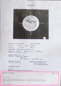 L'un de ses nombreux dessins de mars et un extrait de correspondance avec The Association Of Lunar and Planetary Observers.